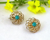 Vintage Gold Swirl Coro Earrings - Abstract Design Faux Turquoise Focal Stone