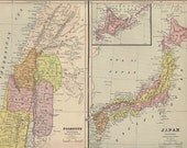 Antique Color Map of Palestine and Japan From an 1883 Atlas Chromolithograph Engraving - Reduced