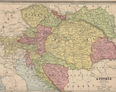 Antique Color Map of Austria and Italy From an 1883 Atlas Chromolithograph Engraving - Reduced