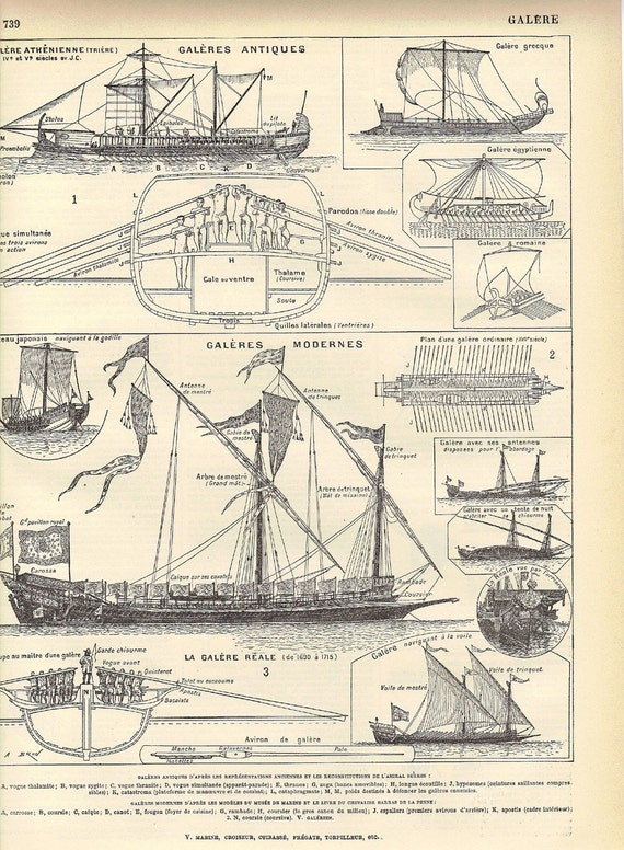 Set of 3 Pages - Antique Ship Engravings from the French Encyclopedia Nouveau Larousse Illustre Boat Print - Reduced