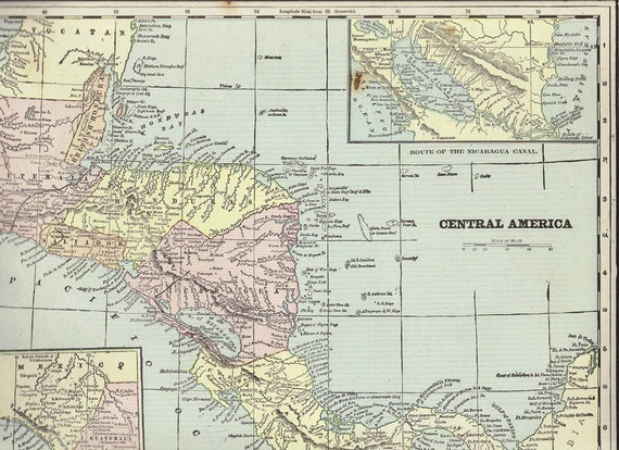 Antique 1901 Big Double Map of Cuba Mexico and Central America from Crams Universal Atlas - Reduced