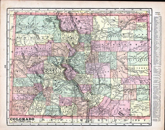 Antique 1901Color State Map of  Nebraska and Colorado from Crams Universal Atlas NE CO - Reduced