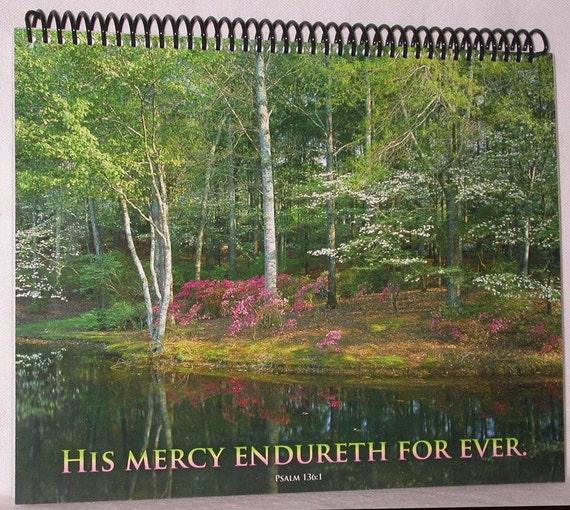 SALE - Beautiful Woodland Lake Photograph Journal Made from Christian Calendar - Scripture Notebook