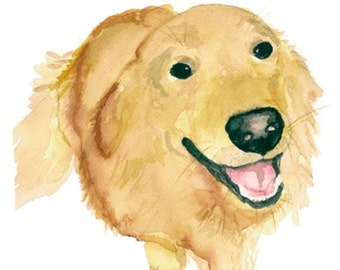 Golden Retriever Print From Original Watercolor, Pet Portrait, Dog Art Print, Yellow Golden Dog Art, Dog Illustration, Golden Illustration