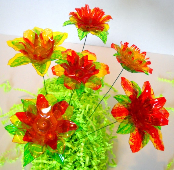 Half Dozen Yellow and Orange Flowers, Made of Recyclyed Water Bottles