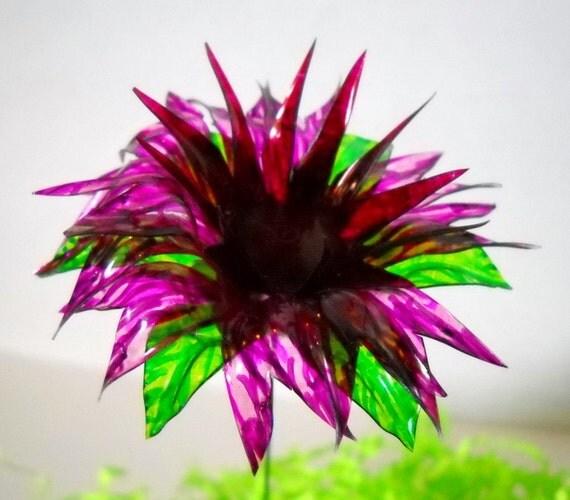 Water Bottle Flowers: Spiky Purple Flower Made Of Recycled Water Bottles