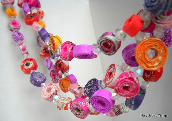 "Purple, Pink, Red & Orange ""Spring Fever"" Paper Garland Upcycled from Magazines, Candy Wrappers,etc. 6 feet"