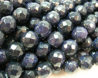 SPARKLE BLUE Goldstone 10mm faceted beads - 16inch strand