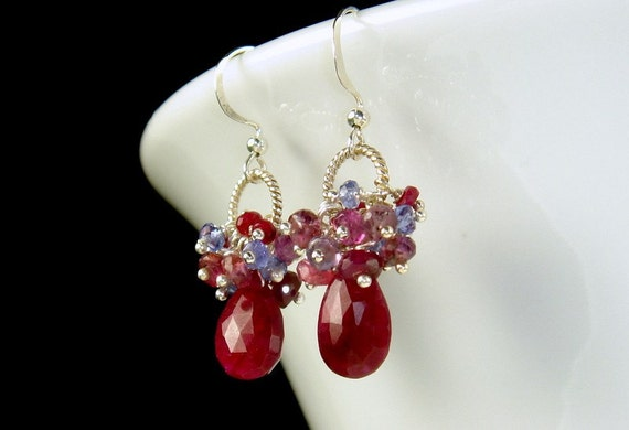 Ruby, Sapphire and Tanzanite Earrings.