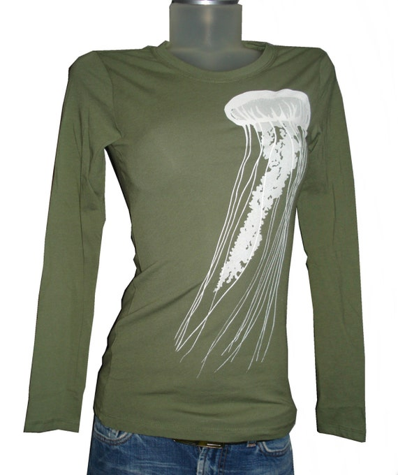 small olive green long sleeved jellyfish tee