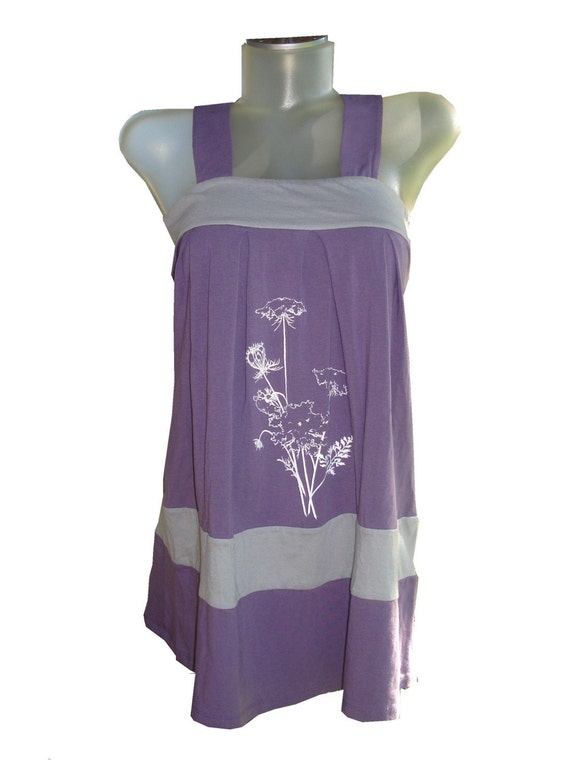small grape and gray queen anne bouquet tank dress