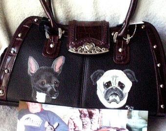 Leather Handbag Custom Art Hand Painted  Purse