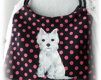 Custom West Highland White Terrier Hand Painted Handbag