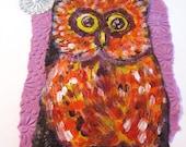 Owl  folk art  painting original