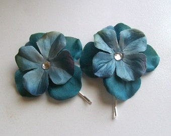 Up Do Bobby Pins or Bobbies with Hydrangea Petals in Teal Blue (set of 2)