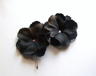 Up Do Bobby Pins or Bobbies with Hydrangea Petals in Black with Pink Rhinestones (set of 2)