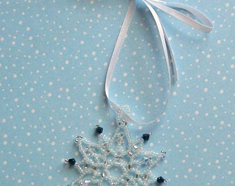 FROZEN Christmas Ornament in Frosted White, and Denim Blue Beaded Snowflake Ornament with Swarovski Crystals