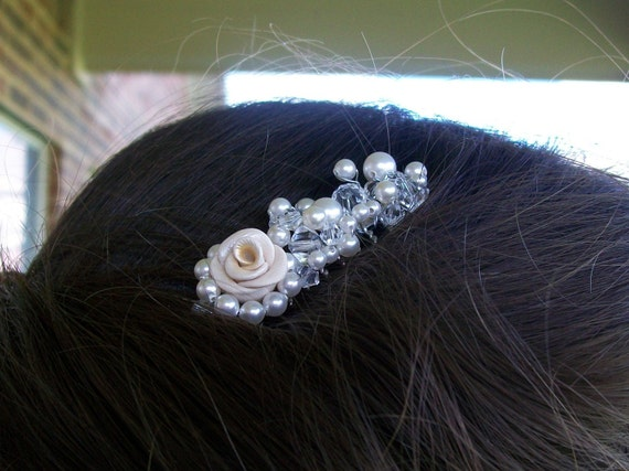 Garden Rose, Swarovski Pearls and Crystals Hair Comb - Bridal Hair Piece