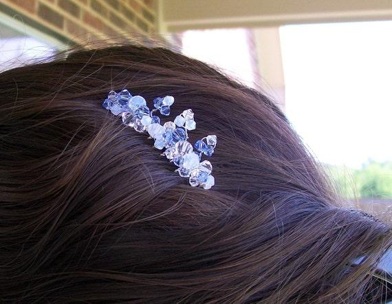Swarovski Crystal Spray Hair Comb in Pale Blues