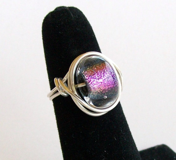 Purple Dichroic Glass Bead and Sterling Silver Wire Ring - Size 8