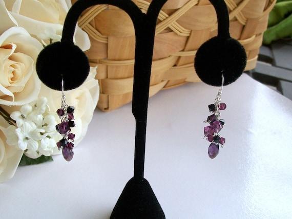 Amethyst and Jet Black Swarovski Crystal Cluster Earrings in Sterling Silver