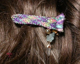 HAPPY - Pastel Rainbow Barrette with Rock Crystal and Vintage Flower Buttons