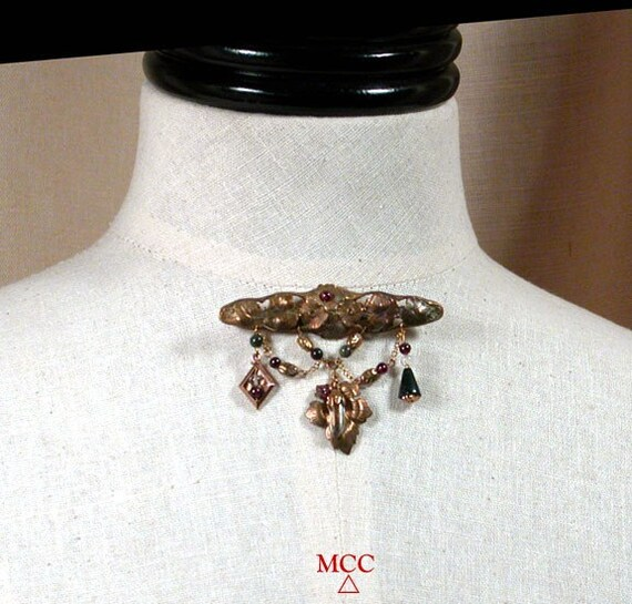 SACANDAGA Brooch - Quartz Crystal, Antiqued Victorian Style Brass, Garnet, Moss Agate, Fancy Jasper