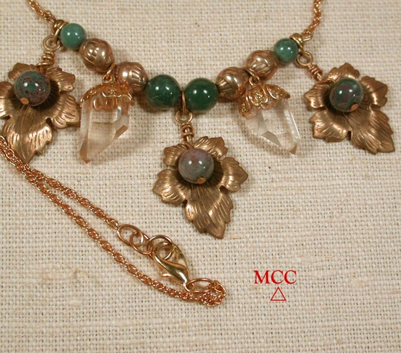 SACANDAGA Necklace - Natural Quartz Crystals, Fancy Jasper, Antiqued Brass Beads and Leaves, 14k Goldfill Chain