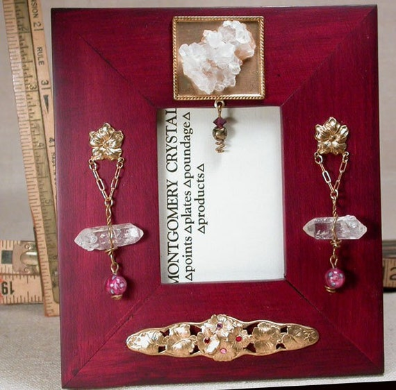 VICTORIAN FLORAL Jewelled Picture Frame -  Natural Rock Crystals and Cluster, Lampwork Rose Beads, 18k Goldplate and Brass Charms, Swarovski Rhinestones