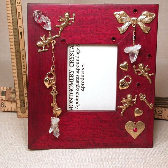 SWEET HEARTS - Jewelled Picture Frame - Golden Cupids and Hearts, Natural Quartz Crystals, Red Swarovski Rhinestones