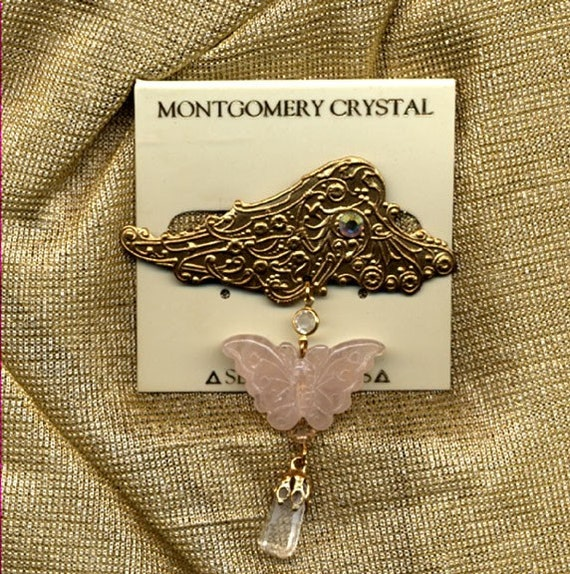 LACE WING -  Brooch - With Rose Quartz Butterfly