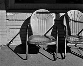 Chairs Black and white photograph chair shadows western lawn chairs  TWO CHAIRS  mysterious