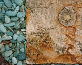 turquoise beigre rust colors textures photograph Bali rocks pepples  abstract design Asia travel