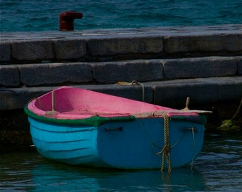 Special listing Ellen 5 X 5   BOAT in PINK and TURQUOISE  row boat Greek Greece  sea  nautical