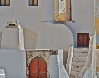 White gray orange photograph windows archway doors photograph winding stairs Greek Greece travel architecture abstract