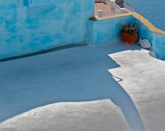 Turquoise blue white cerulean Photograph Greek architecture wall and shadows abstract design Greece  travel island