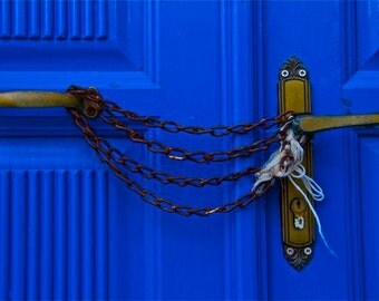 blue cobalt blue rust chained door photograph CHAINED in BLUE   abstract Greece Greek travel
