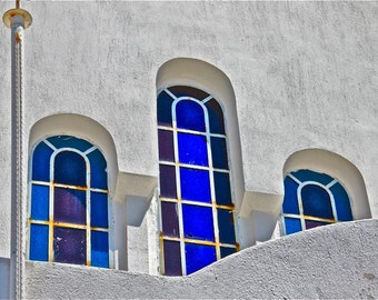 photograph cobalt blue white window arches Greece Greek travel purple stained glass wall decor