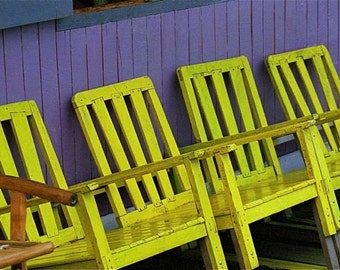 yellow canary lilac violet purple chairs photograph JUST YELLOW CHAIRS   travel Asia  purple wall abstract