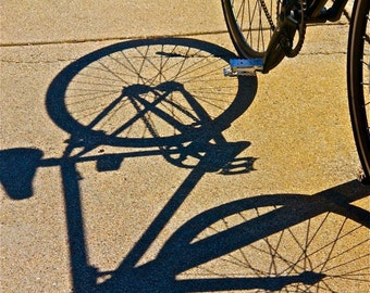 black cream beige bicycle photograph SHADOW BIKE abstract bike shadows bicycle shadows round circles