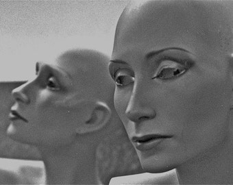 Black and White Mannequin photograph heads and faces 2  spooky scary abstract  ALOOF