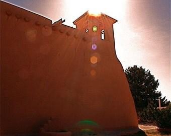 adobe cream church  RANCHO de TAOS architectural photo sunset light reflections Southwestern New Mexico