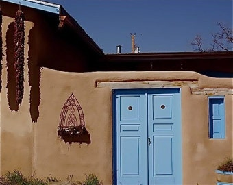 Adobe beige turquoise blue egg shell blue Photograph red chiles  BLUE DOOR  Rancho de Taos Southwestern Church