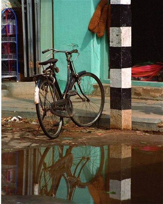 Photograph Turquoise black and white water reflections Bicycle Asia travel wall decor