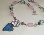 JEWELRY NECKLACE -Sterling Silver -Lamp Work Beads- Rose Quartz Beads with Unique Heart and Repurposed findings gorgeous SPRING colors