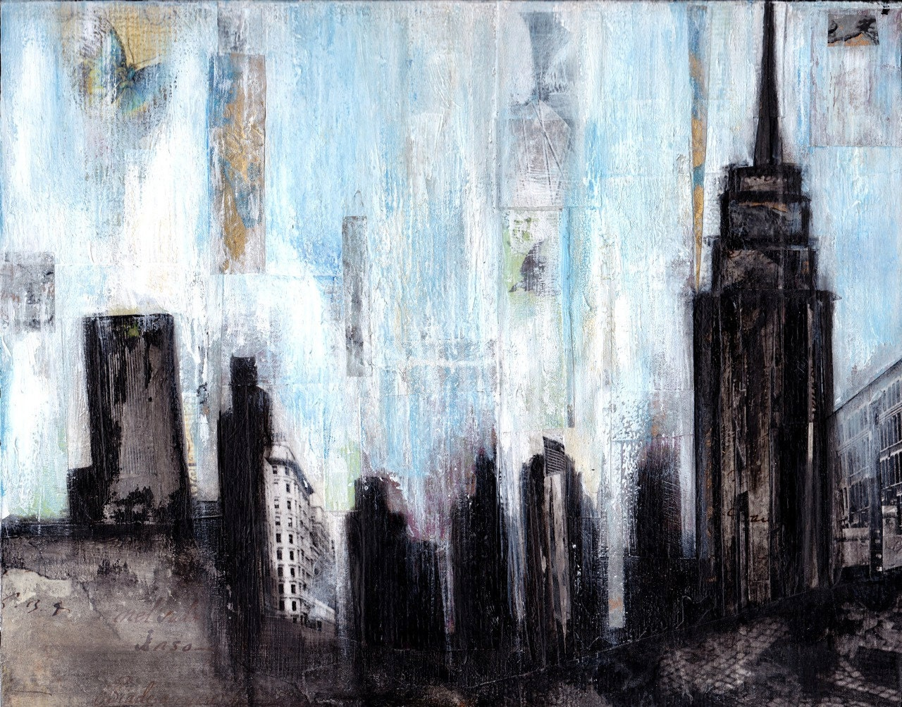 New york skyline fine art print original mixed by for New york skyline painting