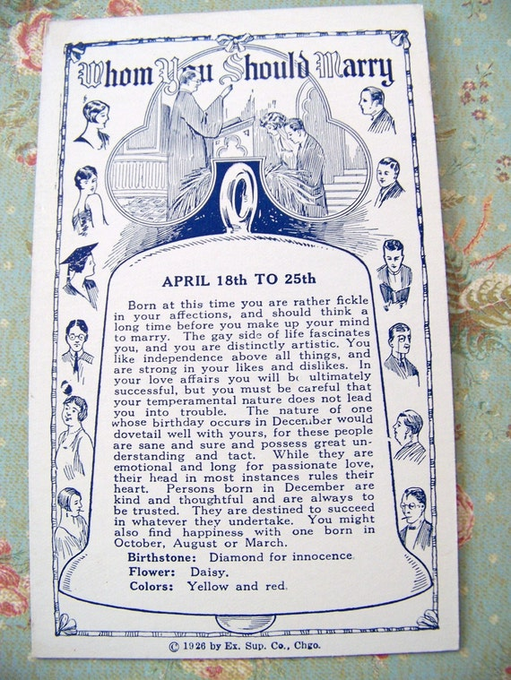 Vintage Gypsy Fortune Teller Machine Card 1926 Who Will You