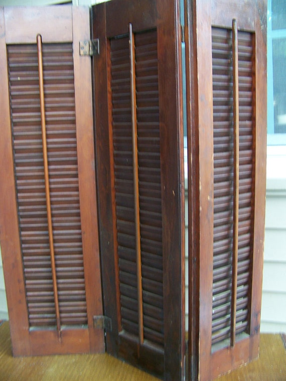 Vintage shutters wood tri fold movable louvered interior - Unfinished wood shutters interior ...