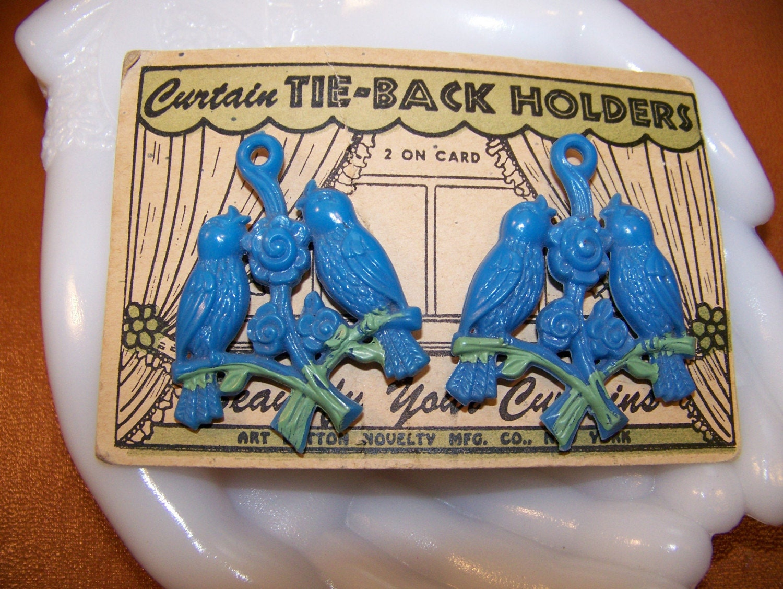 Vintage Curtain Tie Backs Push Pins Hard Plastic Blue Birds