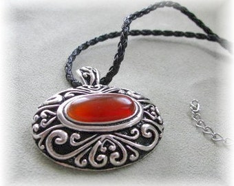 Carnelian and Leather Necklace